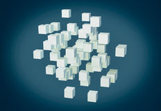 Abstract 3d cubes. One abstract shape made with cubes, 3d render Royalty Free Illustration