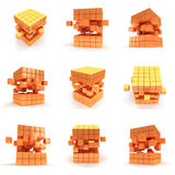 Abstract 3d cubes. set. Abstract 3d cubes set. Background design for banner poster flyer card cover brochure. Logo design. Cubes block collection. Assembling vector illustration