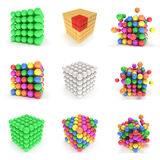 Abstract 3d cubes set. Abstract 3d cubes and balls set Composition of 3d cubes. 3d render illustration on white. Assembling concept. Teamwork Business. 3D render vector illustration