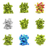 Abstract 3d cubes. set Royalty Free Stock Images