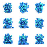 Abstract 3d cubes. set. Composition of 3d cubes. Background design for banner, poster, flyer, card, cover, brochure. Logo design. 3d render illustration  on Royalty Free Stock Photography