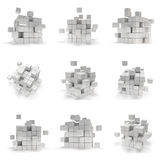 Abstract 3d cubes. set. Composition of 3d cubes. Background design for banner, poster, flyer, card, cover, brochure. Logo design. 3d render illustration Stock Images