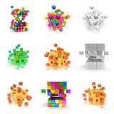Abstract 3d cubes. set. Composition of 3d cubes. Background design for banner, poster, flyer, card, cover, brochure. Logo design. 3d render illustration royalty free illustration