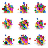 Abstract 3d cubes. set. Composition of 3d cubes. 3d render illustration isolated on white. Assembling concept. Teamwork Business. 3D render icon stock illustration
