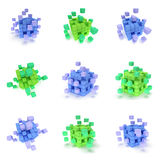 Abstract 3d cubes set. Abstract 3d cubes. set Composition of 3d cubes. 3d render illustration isolated on white. Assembling concept. Teamwork Business. 3D render Royalty Free Stock Photo