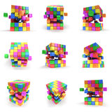 Abstract 3d cubes set. Abstract 3d cubes. set Composition of 3d cubes. 3d render illustration on white. Assembling concept. Teamwork Business. 3D render icon royalty free illustration