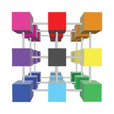 Abstract 3d cubes. Vector illustration Stock Photos