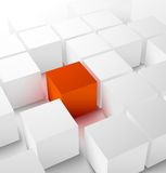 Abstract 3D cubic background with red cube. Abstract 3D cubic background with red glowing cube . Vector illustration Royalty Free Illustration