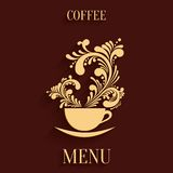 Abstract 3d Cup of Coffee with Floral Aroma. Design Element with Shadow. Design Menu Template Royalty Free Stock Images