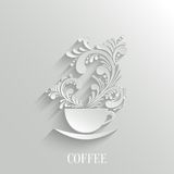 Abstract 3d Cup of Coffee with Floral Aroma. Design Element with Shadow. Trendy Design Template. Easy paste to any Background stock illustration