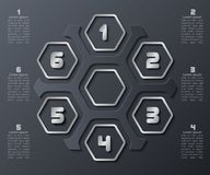 Abstract 3D dark Paper Infographics. Vector abstract 3d paper infographic elements.Hexagon infographics.Honeycomb design vector illustration