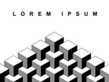 Abstract 3d de bannermalplaatje van de kubussen geometrisch optische illusie in zwart-wit, vector royalty-vrije illustratie