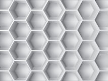 Abstract 3d decoration. Abstract decoration with 3d  hexagon shapes in gray color Royalty Free Stock Image