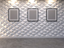 Abstract 3d decorative wall background with blank picture frame Royalty Free Stock Images