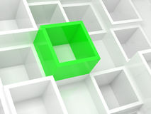 Abstract 3d design background, white and green cells. Abstract 3d design background, white square cells and one bright green element Stock Image