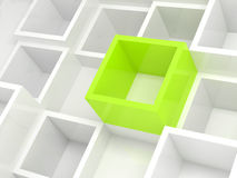 Abstract 3d design background, white and green cells. Abstract 3d design background with white square cells and one bright green element Royalty Free Stock Image