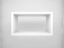 Abstract 3d design element. Empty rectangle white shelf. Abstract 3d design element, empty rectangle white shelf with soft shadow on the wall Royalty Free Stock Photo