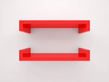 Abstract 3d design element, empty red shelf. With soft shadow mounted on the wall Royalty Free Stock Photos