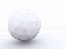 Abstract 3D design of a sphere with wireframe lines. On white background stock illustration