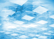 Abstract 3d digital background with blue boxes. Abstract 3d digital background with light blue boxes stock illustration