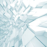 Abstract 3 d digital background. Abstract square digital background, white chaotic sharp fragments pattern with soft blue shadows, 3d illustration Royalty Free Stock Image