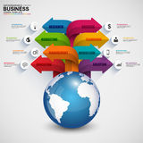 Abstract 3D digital business arrow Infographic Stock Photo