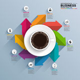 Abstract 3D digital business arrows Infographic with coffee cup. Can be used for workflow layout, timeline, diagram, number options, web design. EPS10 Royalty Free Illustration