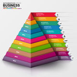 Abstract 3D digital business Infographic. Can be used for workflow process, business pyramid, banner, diagram, 11 number options, work plan, web design vector illustration