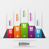 Abstract 3D digital business Infographic. Can be used for workflow process, business stair, startup, banner, diagram, number options, work plan, web design Royalty Free Stock Image