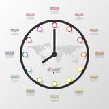 Abstract 3D digital business Infographic. Clock Stock Photography