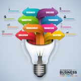 Abstract 3D digital business light bulb Infographic Royalty Free Stock Photo