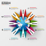Abstract 3D digital business marketing Infographic. Abstract 3D digital business Infographic. Can be used for workflow process, business success, banner, diagram Stock Photos