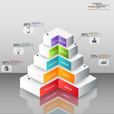 Abstract 3D digital business pyramid Infographic Royalty Free Stock Photography