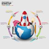 Abstract 3D digital business startup Infographic Royalty Free Stock Images