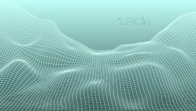 Abstract 3D Digital Grid Terrain Landscape Background. EPS10 Vector Stock Photography