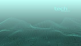 Abstract 3D Digital Grid Terrain Landscape Background. EPS10 Vector Royalty Free Stock Images