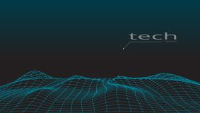 Abstract 3D Digital Grid Terrain Landscape Background. EPS10 Vector Stock Image