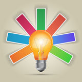 Abstract 3D digital illustration Infographic. Bulb icon. Light icon Royalty Free Stock Image