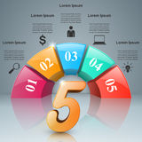 Abstract 3D digital illustration Infographic. Five icon. Stock Image
