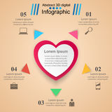 Abstract 3D digital illustration Infographic. Heart icon. Royalty Free Stock Images