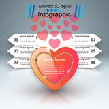 Abstract 3D digital illustration Infographic. Heart icon. Stock Photography