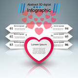 Abstract 3D digital illustration Infographic. Heart icon. Stock Photo