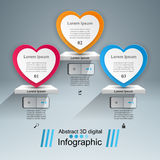 Abstract 3D digital illustration Infographic. Heart icon. Infographic design template and marketing icons. Heart icon Royalty Free Stock Photography