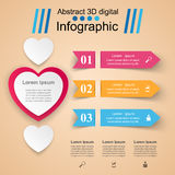 Abstract 3D digital illustration Infographic. Heart icon. Infographic design template and marketing icons. Heart icon Stock Images