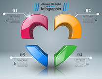 Abstract 3D digital illustration Infographic. Heart icon. Infographic design template and marketing icons. Heart icon Stock Photos