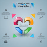 Abstract 3D digital illustration Infographic. Heart icon. Infographic design template and marketing icons. Heart icon Stock Photography