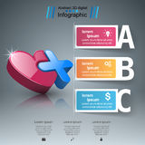 Abstract 3D digital illustration Infographic. Heart icon. Infographic design template and marketing icons. Heart icon Royalty Free Stock Photo