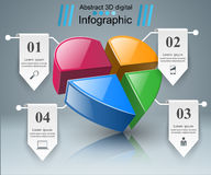 Abstract 3D digital illustration Infographic. Heart icon. Infographic design template and marketing icons. Heart icon Stock Photo