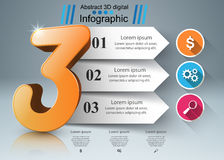 Abstract 3D digital illustration Infographic. Three icon. Stock Photography