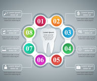 Abstract 3D digital illustration Infographic. Tooth icon. Royalty Free Stock Images